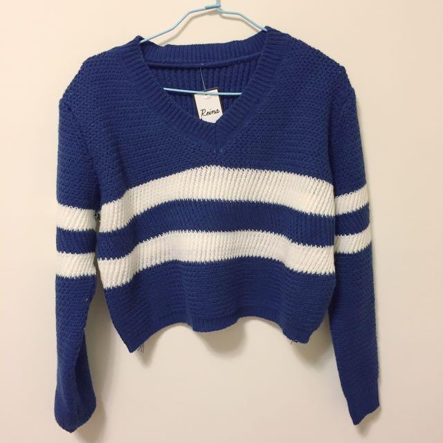 短版針織上衣 條紋 藍