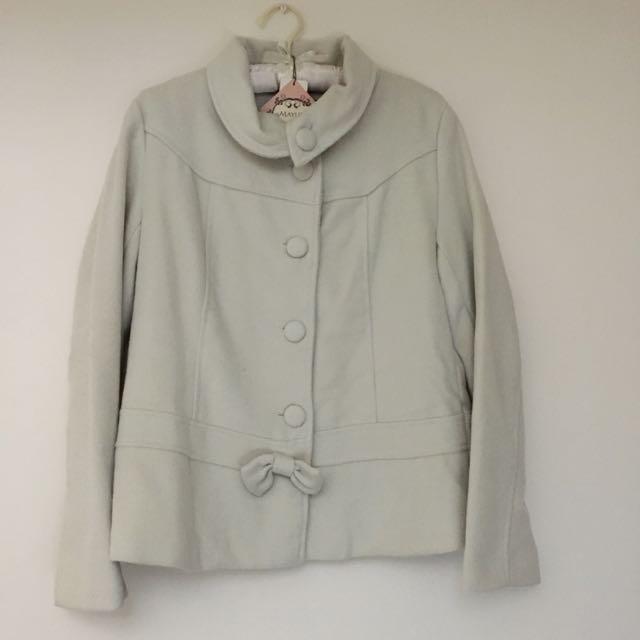 東京著衣 蝶結翻領包釦毛呢外套-米白