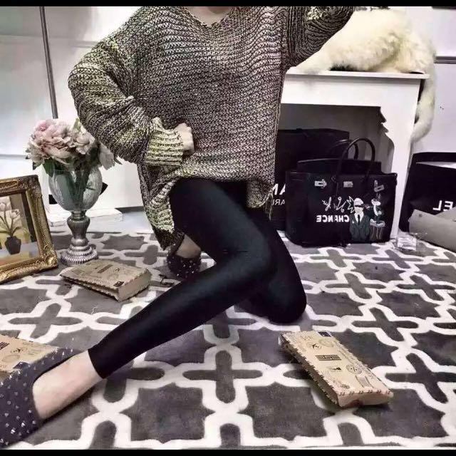 含運{K-Life shopss}實用超彈性光澤內撘褲 SML適用
