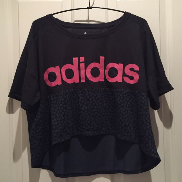 🚩FREE SHIPPING Rare ADIDAS Black Pink Logo High Low Cropped Shirt Crop Tshirt Gym Clothes Oversized Top XS 6 Or 8