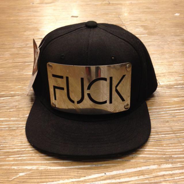 潮牌銀牌FUCK棒球帽 黑色