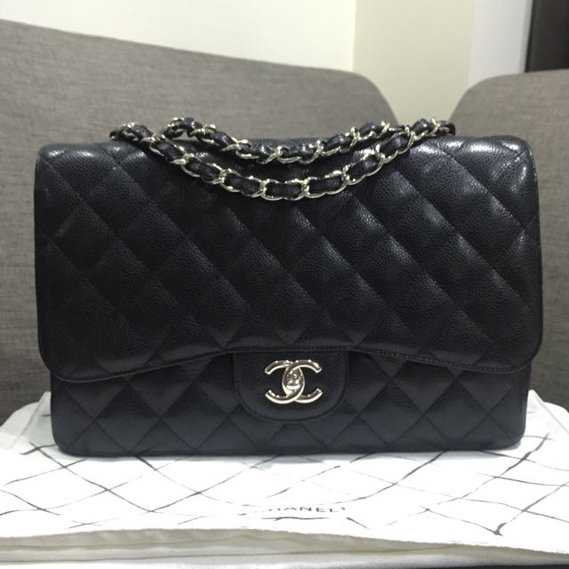 13076d3d972e63 💎SOLD!!!💎 Excellent Condition Chanel Jumbo Single Flap Bag In Black Caviar  Leather and SHW, Luxury on Carousell