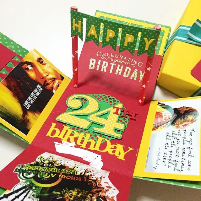 Happy 24th Birthday Explosion Box Card In Bob Marley Theme Design