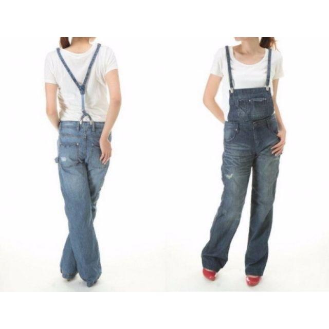 轉賣 日貨Heather 寬版牛仔吊帶褲 【深藍M】