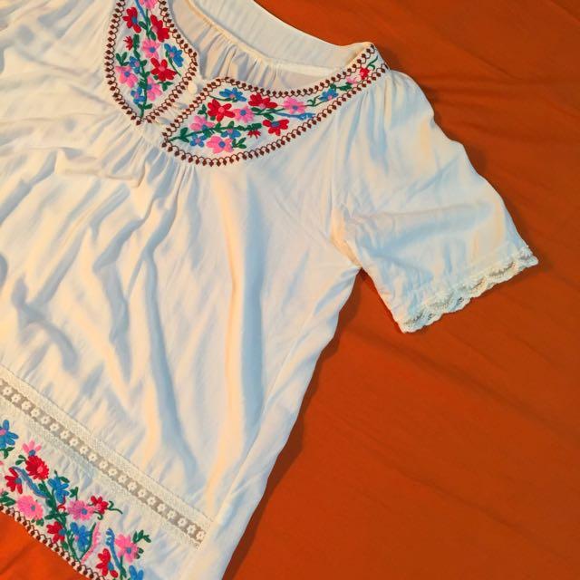 🦄💕墨西哥刺繡lady味傘狀上衣🍋
