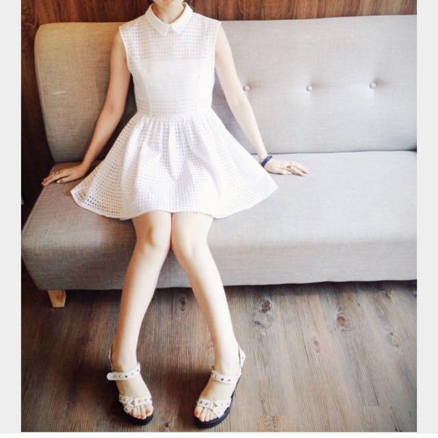 🙋🏻徵✨Marjorie 白色小窗格薄紗洋裝