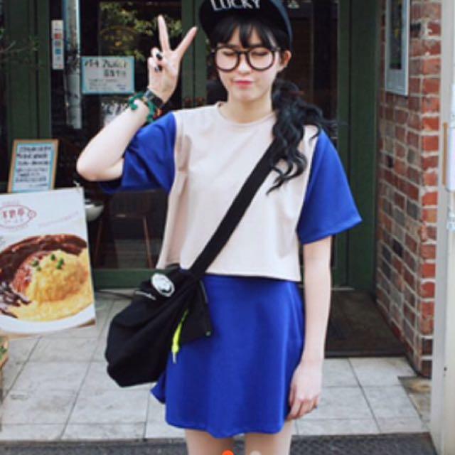 michyeora同款 韓國 套裝 兩件式 上衣+短裙 藍色 免運