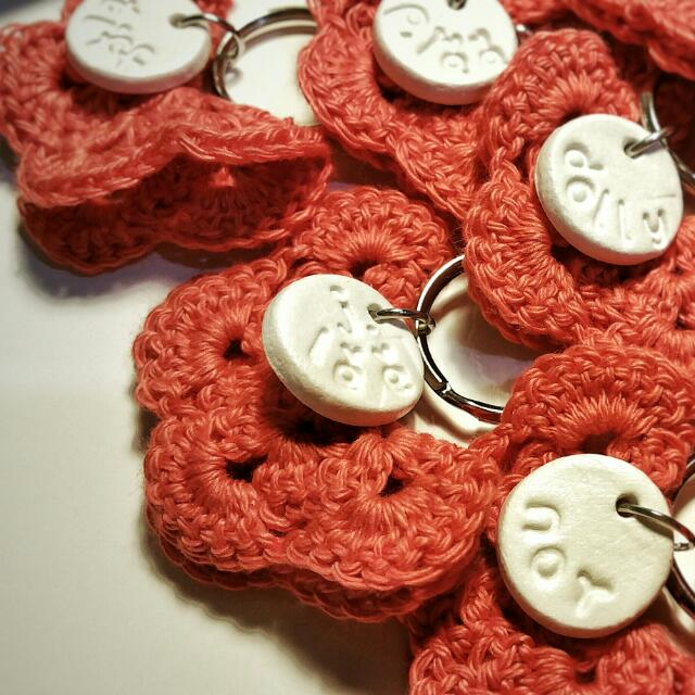 20pcs Personalised Initial clay tag + crochet butterfly keychain