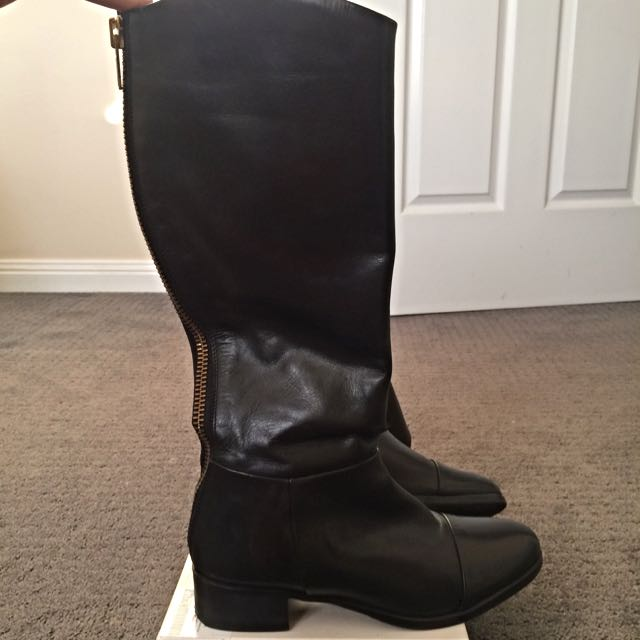 Real Leather Knee High Black Boots
