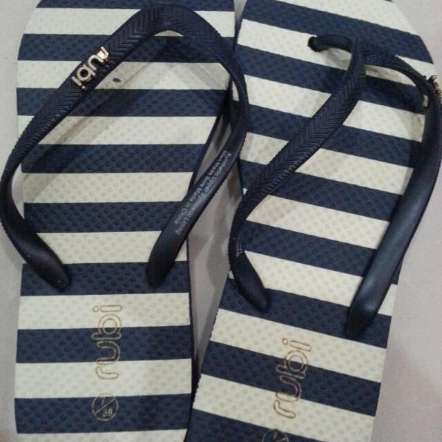 Rubi Sandals Navy And White Stripes