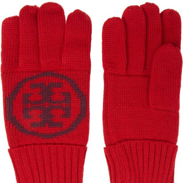 Tory BurchIntarsia wool gloves嵌花毛線手套