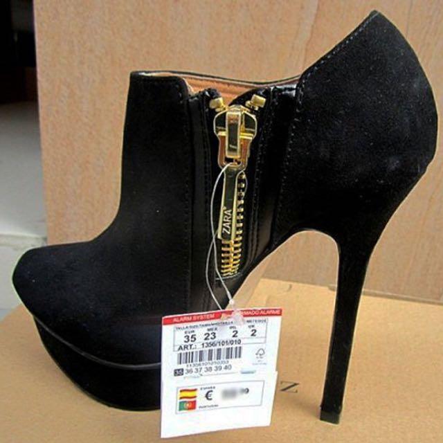 Zara 細跟尖頭踝靴 黑麂皮