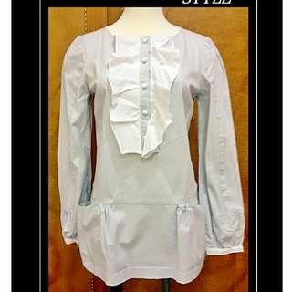 'epaniour淡灰藍白荷葉領上衣