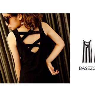 全新轉賣BASEZOO貝思奇-直條&素面交叉背心洋裝