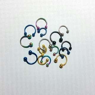 醫療鋼防過敏C型耳環 穿刺體環 耳針 耳釘 眉骨釘 單支價