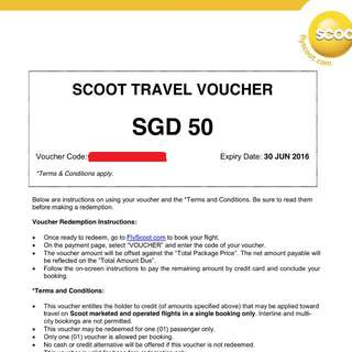 SCOOT 50$ VOUCHER - TRAVEL BY 30 JUNE 16