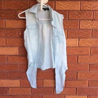Denim-look Sleeveless Tie-up Shirt