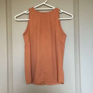 Forcast Brown Blouse With Slit   Size 6