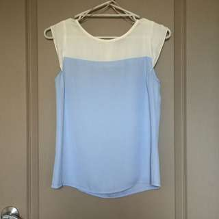 Forcast White And Blue Blouse | Size 6