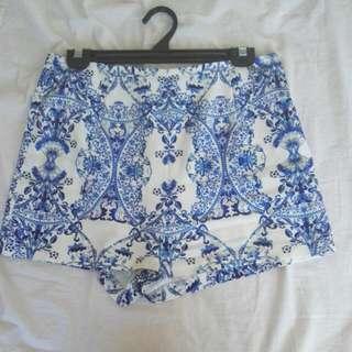 Blue & White Print Shorts