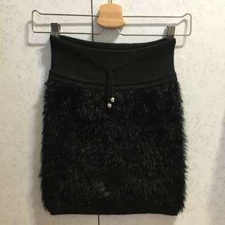 裙子 黑色毛毛彈性短裙