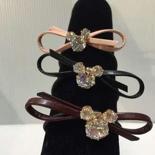 韓國製 緞帶蝴蝶米奇水鑽髮圈 綁頭髮
