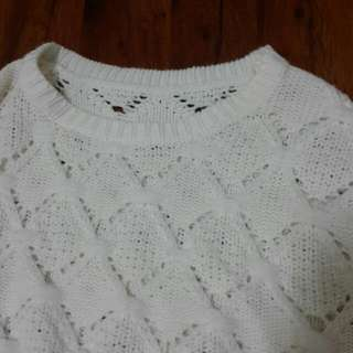 米白 短版 針織 上衣 長袖 縷空
