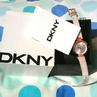 DKNY rose gold watch - White Leather.