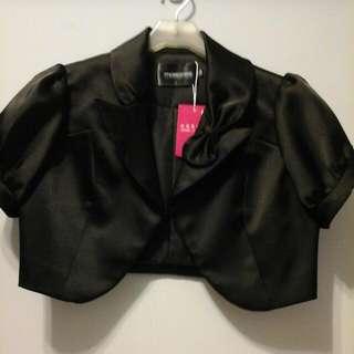 全新黑色亮眼短袖小外套