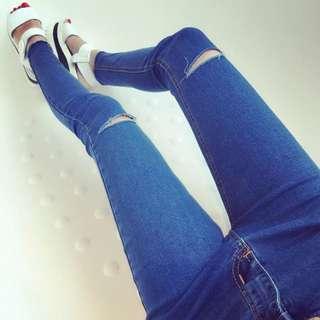 韓版顯瘦破洞緊身鉛筆褲