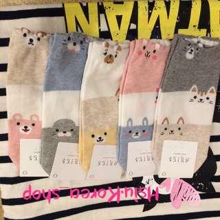 韓國動物配色船型襪
