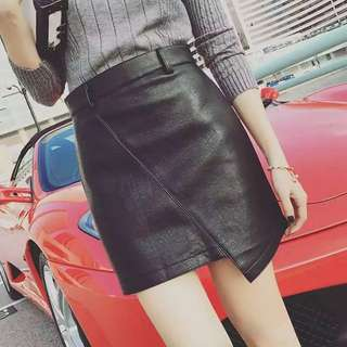韓版高腰PU拼接包臀裙