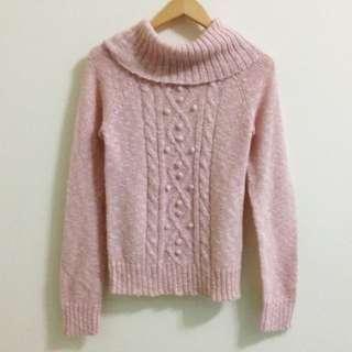 長版粉紅針織毛衣