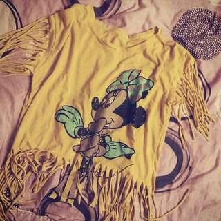 二手 米妮流蘇上衣 👕 復古 Mickey Mouse寬鬆 T-shirt