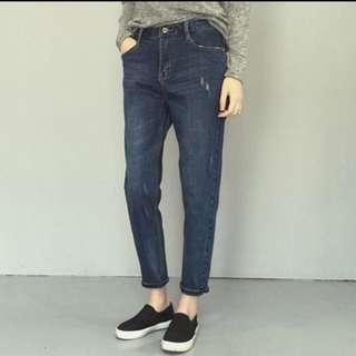 牛仔深藍色男友褲(保留中)