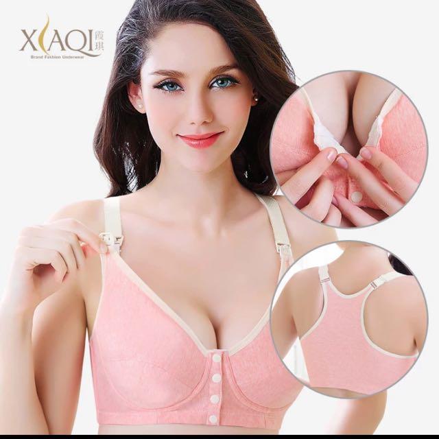 孕婦哺乳無鋼圈防下垂纯棉前開扣式餵奶背心式內衣