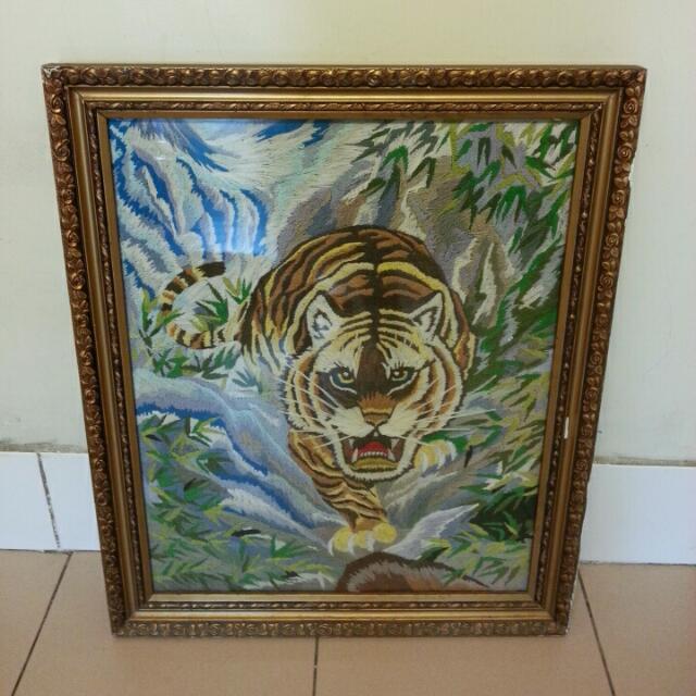 復古老物手鉤製老虎二手畫框