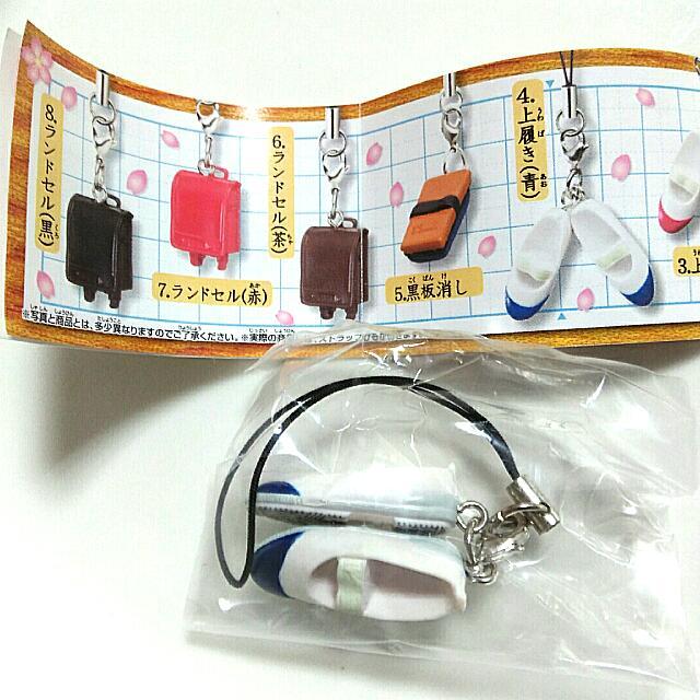 扭蛋/小學校小道具吊飾-學生鞋(藍)
