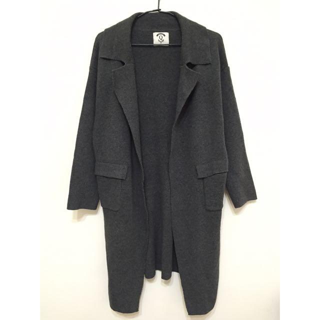 待匯款🙌🏽 深灰色開襟針織長版外套