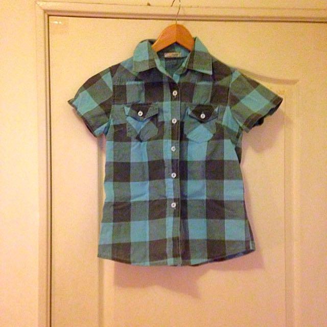 《大清倉》藍黑格紋中性襯衫