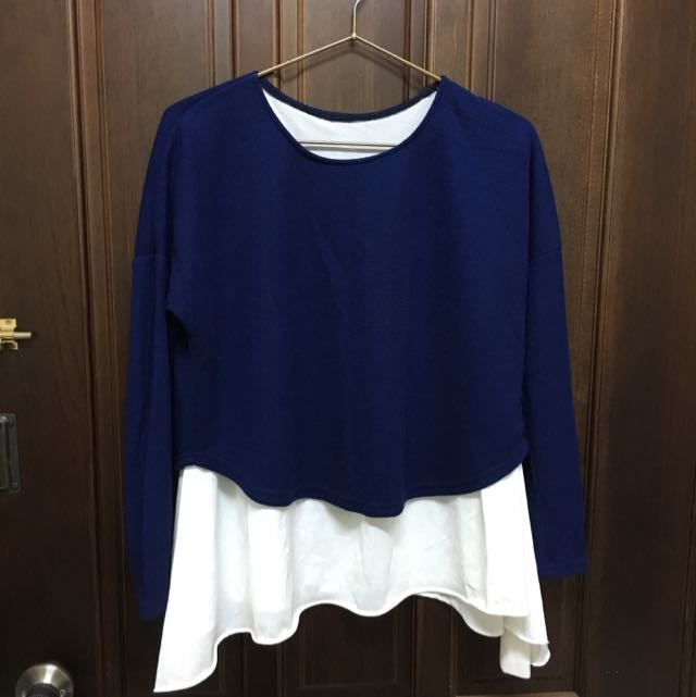 寶藍+白假兩件上衣