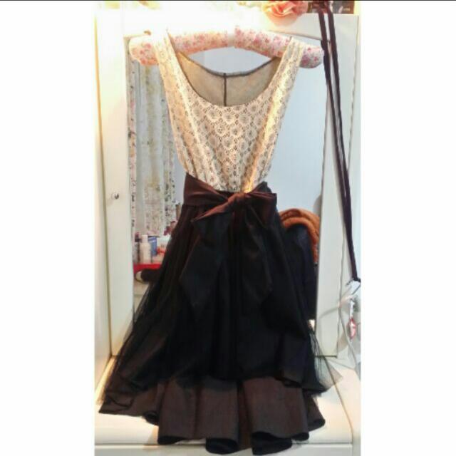 全新 前短後長無袖紡紗裙 長裙