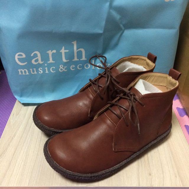 全新✨ Earth Music & Ecology 🌲森林系 日系 皮革 短靴 棕色 咖啡 EU39 JP24.5 免運