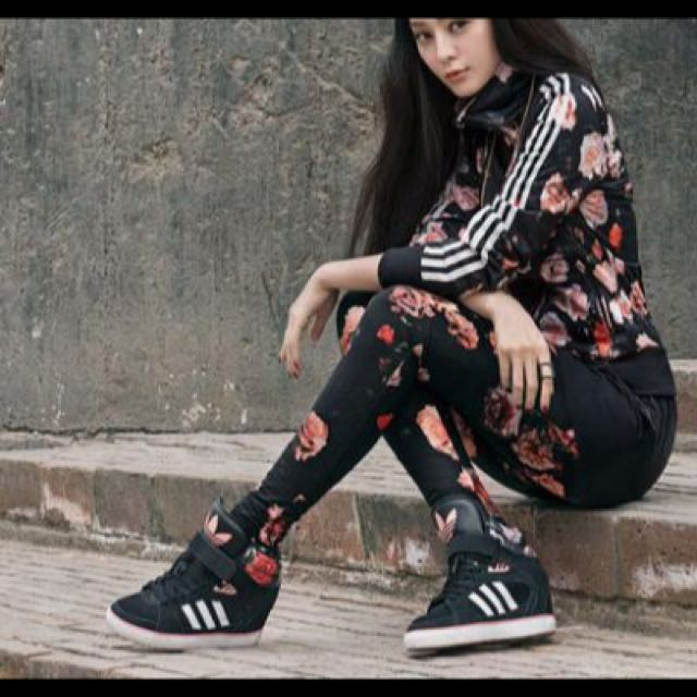 Adidas originals 愛迪達 范冰冰著用 玫瑰花款 內增高 增高鞋