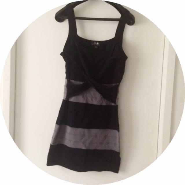 Black And Grey Bandage Dress