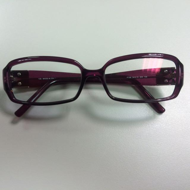 正品FENDI 深紫色貝殼玻璃logo鏡腳