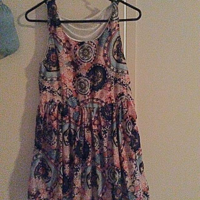 Flowered Aztec Print Dress