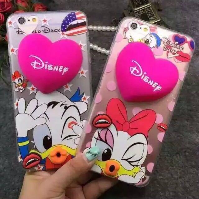 米奇米妮維尼史迪奇奇奇唐老鴨黛西iphone6/6+/6s/6s+創意支架iphone6s手機殼掛繩蘋果6plus保護套耳機繞線器