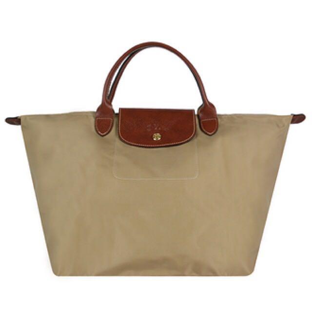 Longchamp 短柄M號奶茶色