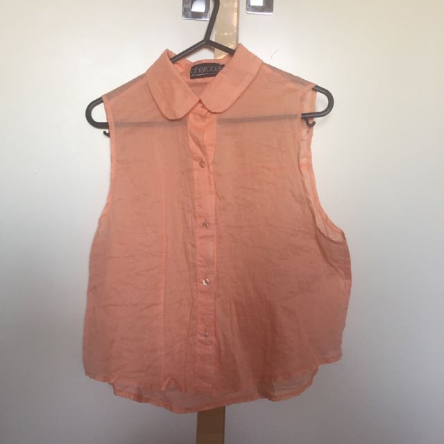 Orange Cropped Sleeveless Shirt